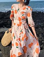 Χαμηλού Κόστους -γυναικεία ασύμμετρη φόρεμα γραμμής v λαιμό πορτοκαλί s m l xl
