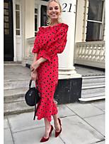 Χαμηλού Κόστους -Γυναικεία Εφαρμοστό Φόρεμα Μίντι Ώμοι Έξω