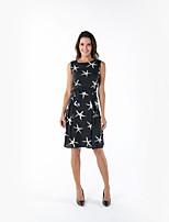 Χαμηλού Κόστους -Γυναικεία Βασικό Κομψό Σιφόν Φόρεμα - Γεωμετρικό, Στάμπα Ως το Γόνατο