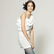スパゲティストラップ非対称ネックラインのドレス/女性のドレス(FF-1801be102-0859)フリルのワンショルダー行