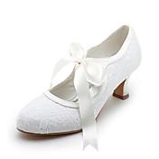 女性用 靴 サテン ストレッチサテン 春 夏 メリージェーン スプールヒール リボン紐 のために 結婚式 ホワイト クリスタル