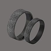 delicados anillos negros de la pareja de acero inoxidable estilo femenino clásico