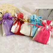 titular de favor de satén con cintas favorece bolsas-12 favores de la boda hermosa