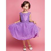 Una línea de longitud de la rodilla vestido de niña de flores - de algodón cuello cuadrado sin mangas con bordado