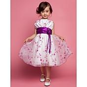 Una línea de longitud de la rodilla princesa vestido de niña de flor - poliéster sin mangas correas con flor
