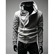 MSUIT Hombres camiseta de la cremallera de la sudadera con capucha gris claro
