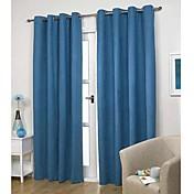 Corredizo Anillo Lazo de tela Doble plisado Dos Paneles Ventana Tratamiento Modern Un Color Sala de estar Poliéster Material cortinas