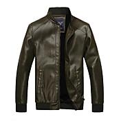 ARW Hombres Esmeralda Delgado Estilo Adición Soft Nap PU Leather Coat