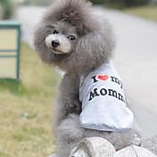 Gato Perro Camiseta Ropa para Perro Transpirable Bonito Casual/Diario Cumpleaños Corazones Gris Disfraz Para mascotas