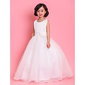 Una línea de longitud del tobillo vestido de niña de flores - satén cuello joya sin mangas de tul con lazo de encaje arco