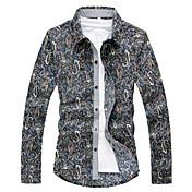 男性用 プリント カジュアル シャツ,半袖 コットン ブラック
