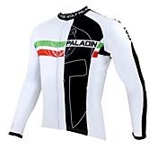 ILPALADINO サイクリングジャージー 男性用 長袖 バイク ジャージー トップス サイクルウェア 保温 速乾性 抗紫外線 高通気性 パッチワーク レジャースポーツ サイクリング / バイク ホワイト
