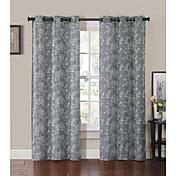 Un Panel Ventana Tratamiento Campestre , Estampado Hoja Dormitorio Poliéster Material cortinas cortinas Decoración hogareña