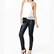 Mujer Tiro Medio Microelástico Ajustado Pantalones,Un Color Poliuretano Poliéster Primavera