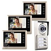 """7 """"lcd táctil de la puerta del teléfono de la puerta de vídeo portero de entrada de casa para 3 familias"""