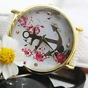 女性ゴールドアンカーフラワーレザーストラップQuatz腕時計盛り合わせ色について