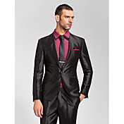 スーツ テイラーフィット スリムノッチドラペル シングルブレスト 一つボタン ポリエステル 2点 ブラック ストレートフラップ ノータック(フラットフロント) ノータック(フラットフロント)
