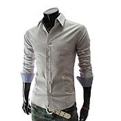 dejar de manga larga imprime el cheque camisa ocasional de los hombres