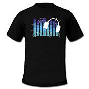 Camisetas LED  Luces LED Activadas Por Sonido Textil Dibujos 2 Baterías AAA