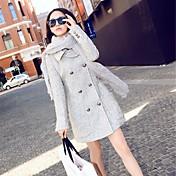 caliente de lana doble pechos de la mujer combina prendas de vestir exteriores larga de la manga