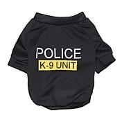 ネコ 犬 Tシャツ 犬用ウェア コットン 夏 ファッション 文字&番号 警察/軍隊 ブラック コスチューム ペット用