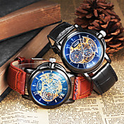 男性 リストウォッチ 機械式時計 透かし加工 自動巻き レザー バンド ブラック ブラウン