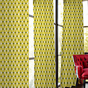ロッドポケット グロメットトップ タブスタイル 2パネル ウィンドウトリートメント デザイナー , プリント ベッドルーム ポリエステル 材料 カーテンドレープ ホームデコレーション
