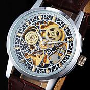 男性用 リストウォッチ 機械式時計 自動巻き 透かし加工 夜光計 PU バンド クール ラグジュアリー ブラウン