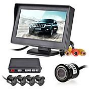 12V 4パーキングセンサー液晶ディスプレイ監視カメラ映像の車は、バックアップレーダーシステムキットブザー警報を逆転