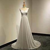Corte en A Cuello en V Larga Raso Encaje Vestido de novia con Apliques Botón por VIVIANS BRIDAL