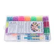 coloridas bandas de goma DIY pulseras con 6300pcs bandas y 100 s-clips en estuche de transporte de plástico