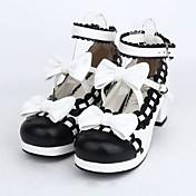Zapatos Amaloli Lolita Tacón alto Zapatos Lazo 4.5 CM Negro Para Cuero Sintético/Cuero de Poliuretano