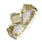 女性用 ダミー ダイアモンド 腕時計 クォーツ 合金 バンド ボヘミアンスタイル シルバー ゴールド