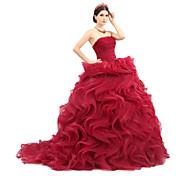 Salón Princesa Sin Tirantes Larga Organza Tul Charmeuse Evento Formal Vestido con Cinta / Lazo Volantes Fruncido por Huaxirenjiao