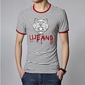 男性用 ストライプ カジュアル Tシャツ,半袖 コットン,ブルー / レッド
