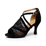 Mujer Zapatos de Baile Latino / Salón Encaje Sandalia Hebilla Tacón Stiletto Personalizables Zapatos de baile Negro