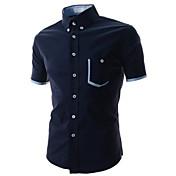 Camisas Casuales ( Algodón Compuesto )- Casual Cuello de camisa Manga Corta