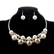 Mujer Juego de Joyas Collar / pendientes Lujo Moda Hueco Boda Fiesta Diario Casual Perla Perla Artificial Diamante Sintético Legierung