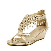 女性用 靴 レザーレット 夏 プラットフォーム ウエッジヒール クリスタル のために カジュアル シルバー ゴールド