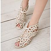 女性用 靴 レザーレット 春 夏 コンフォートシューズ ローヒール のために オフィス&キャリア ドレスシューズ ブラック ホワイト ブラウン