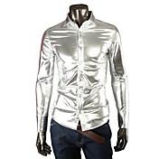 Camisa De los hombres Un Color Casual / Trabajo / Formal / Tallas Grandes-Mezcla de Algodón / Elástico / Satén-Manga Larga-Negro / Oro /