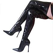 Mujer Zapatos Semicuero Invierno Tacón Stiletto Sobre la Rodilla Cremallera Para Fiesta y Noche Negro Naranja Rojo Leopardo