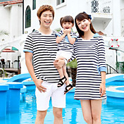 Sistemas de la ropa de la familia Verano Medio Microelástico - Algodón - Manga Corta