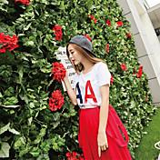 De las mujeres Simple / Chic de Calle Casual/Diario Verano Camiseta,Escote Redondo Estampado Manga Corta Algodón Rojo / Blanco / Negro