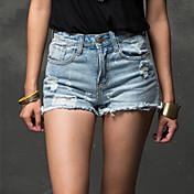Mujer Tiro Alto Rígido Corte Recto Vaqueros Pantalones,Un Color Verano