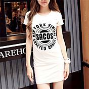 De las mujeres Simple / Chic de Calle Casual/Diario Verano Camiseta,Escote Redondo Estampado Manga Corta Algodón Blanco / Gris Fino