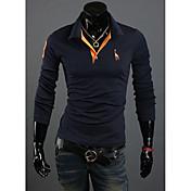 Camisetas ( Algodón Compuesto )- Casual Cuello de camisa Manga Larga