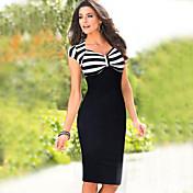 WOMEN - セクシー/ボディコン/パーティー - ドレス ( ポリエステル Vネック - ノースリーブ
