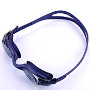 Gafas de natación Anti vaho Tamaño Ajustable Anti-UV Correa anti deslizante Impermeable Gel de sílice PC Morado Gris Claro