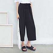 Mujer Tiro Alto Microelástico Perneras anchas Vaqueros Pantalones,Un Color Otro Verano